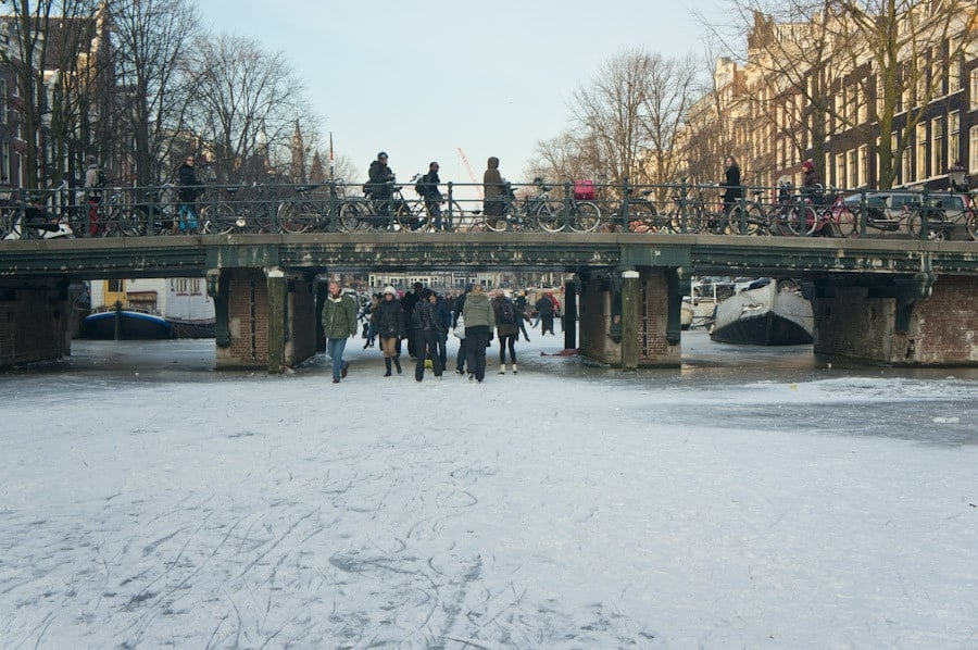 One of the bridges from a frozen canal
