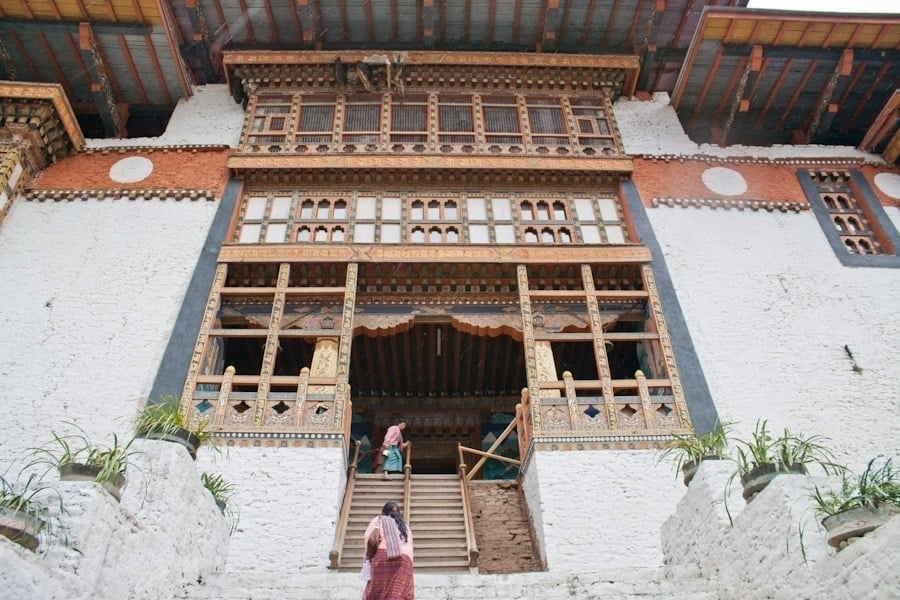 Dizzying scale of Punakha Dzong hit us at its entrance