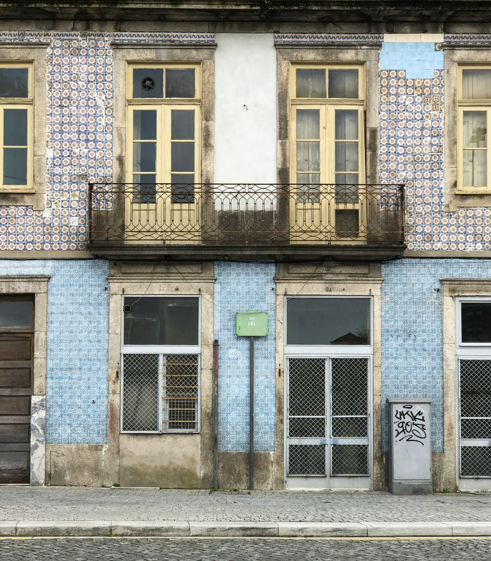 Tiled Façade of a house at Porto
