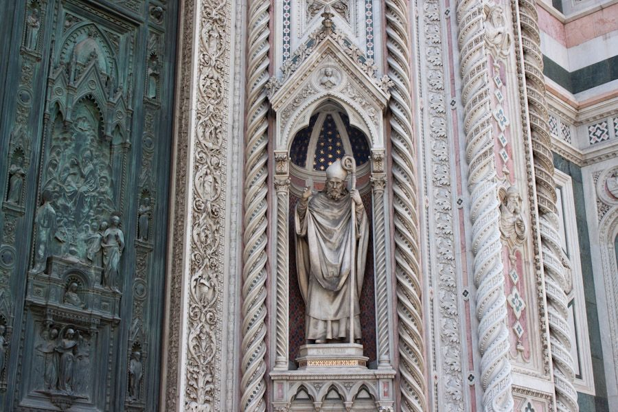 The enormous and intricate façade of the cathedral at Florence