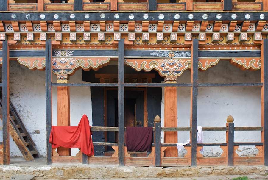 At an empty courtyard in Jakar Dzong
