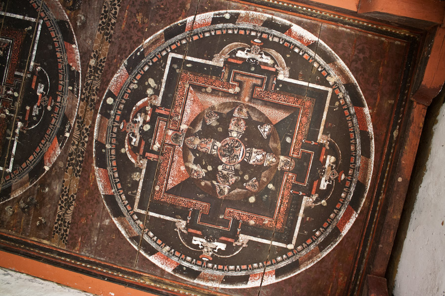 Painted ceiling at the entrance of the Dzong