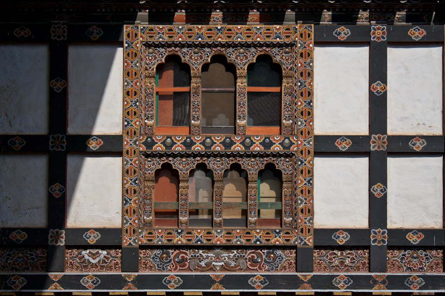 The painted window frames of the Trongsa Dzong